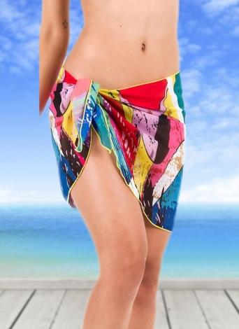 Falda de gasa sexy falda especial playa de diferentes colores de las mujeres de impresión