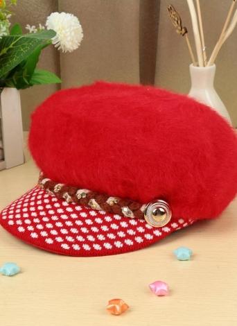 9ef2e136b5 Nova moda mulheres chapéu coelho falso pêlo Slouchy ajuste da malha Brim  strass botão decoração Casual