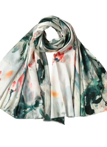 Mulheres Silk Scarf Vintage chinês tinta e lavagem impressão longos cachecóis xale Pashmina
