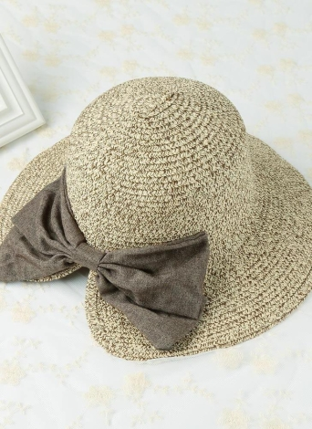 New Fashion Women Straw Hat bowknot Large Cap Praia Laminados Brim dobrável doce Vintage Sun Verão