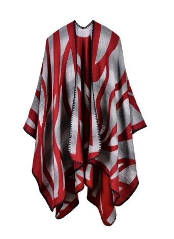 rot Mode Pullover Gestreifte Faux Kaschmir Capes Damen