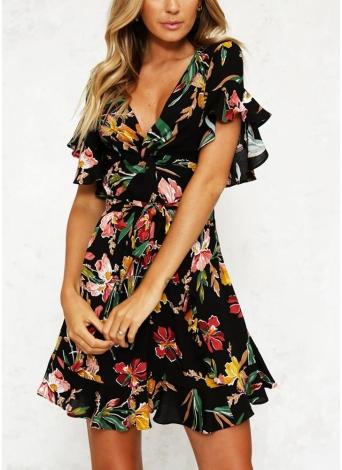 Femmes Floral Mini Dress V Neck Flare Sleeve taille élastique A-doublé Dress