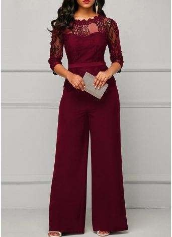 Lace Splice 3/4 Sleeves Wide Leg Playsuit