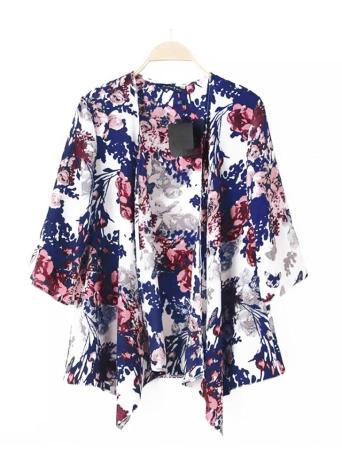 Vintage Floral Print Batwing 3/4 Sleeve Irregular Hem Chiffon Kimono