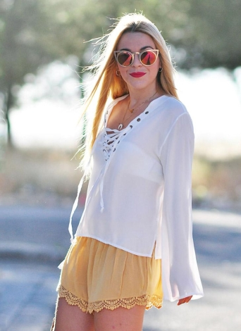 Boho Chiffon Lace Up Splits Long Flare Sleeve White Blouse