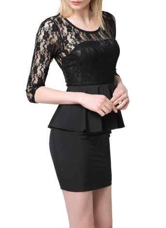 Новый сексуальный Женщины Мини платье Кружева сращивания выдалбливают Элегантный Плиссированные Bodycon коктейль вечернее платье черный