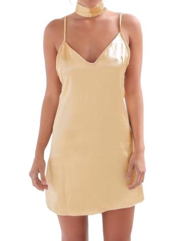 29da9ecfe96e90 Neue reizvolle Frauen Beleg-Kleid mit tiefem V-Ausschnitt Criss Cross  Choker Spaghetti-