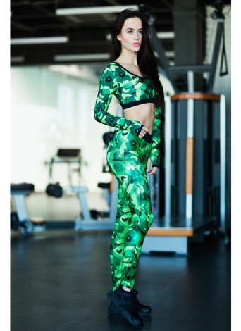Women Camouflage 2 Pieces Camo Sports Set Cropped Tank Top Long Sleeves Fitness Suit Workout Yoga Sportswear Long Pants