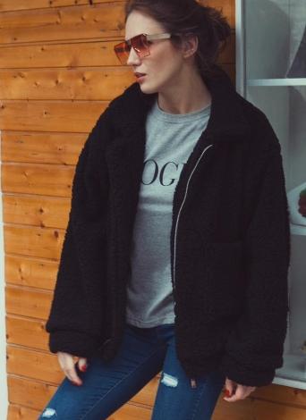 Abrigo holgado de piel sintética peluda de las mujeres de la manga larga de la moda