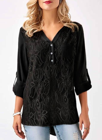 Women Chiffon Lace  V Neck Roll-up Long Sleeves Shirt Blouse