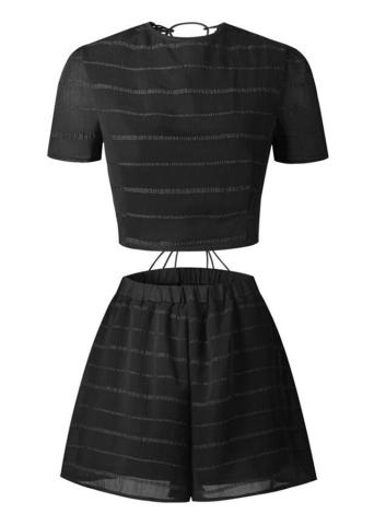 Women Two Piece Set Crop Top Shorts Lace Up Bandage Cross Over Crochet Lace Elastic Waist Sexy Suit