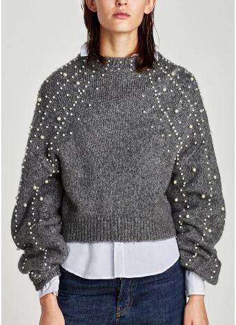 Women  Faux Pearls Beadings Round Neck  Long Sleeve Ribbed  Sweater