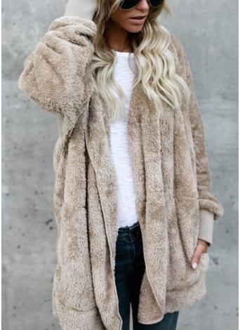 Women Hooded Long Coat Jacket Hoodies Cardigan Faux Fur Fleece Open Front Pockets Outwear Casual Overcoats