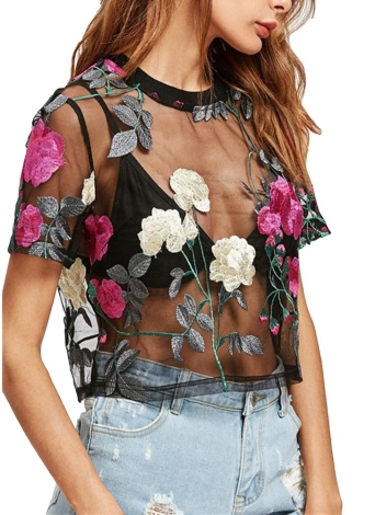Frauen Sheer Mesh Top Blumen bestickt Kurzarm Bluse