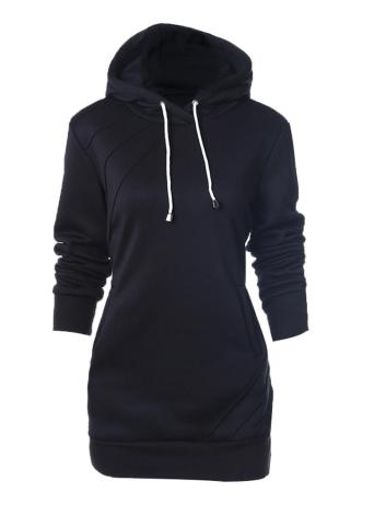 Fashion  Long Sweatshirts Long Sleeve Pockets Solid  Women's Hoodies