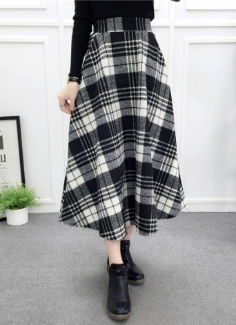 Frauen Plaid Rock Woolen Hohe Elastische Taille Elegante A-Linie Midi Röcke