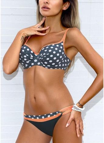 Damen Low Waisted Dot Print Underwire Zweiteiler Bikini Set