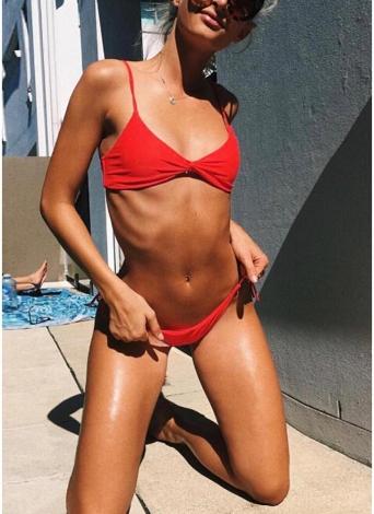 Sexy Frauen Solide Rüschenbandage Strappy Zweiteiler Bikini Set