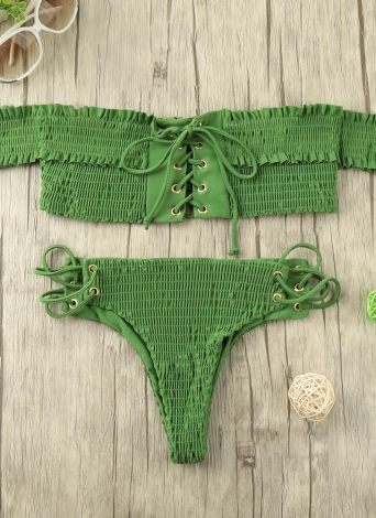 Sexy Femmes Smocked Off l'épaule Lace Up Bikini Set