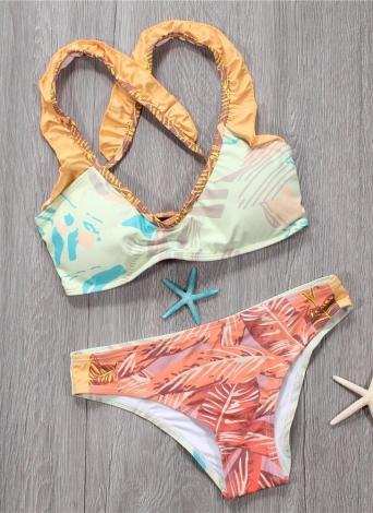 Sexy Bikini donna Set Spaghetti Strap Contrast Color Bandage Cross Lacing Imbottito costumi da bagno senza fili Giallo