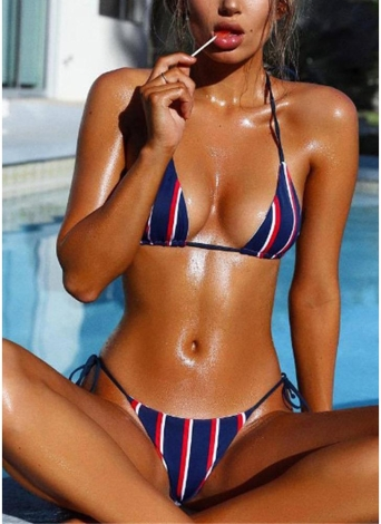 Halter Push Up Striped Tie Waist Padded Women Bikini Set