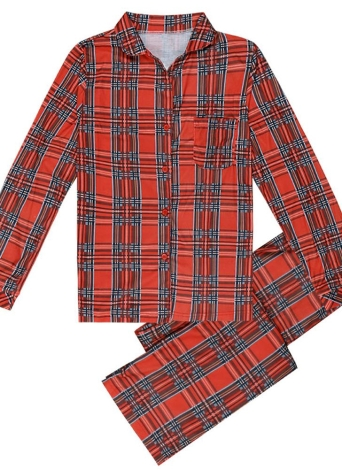 Семейные девочки Мальчики Дети Pajama Set Плед Длинные рукава Sleepwear Костюмы