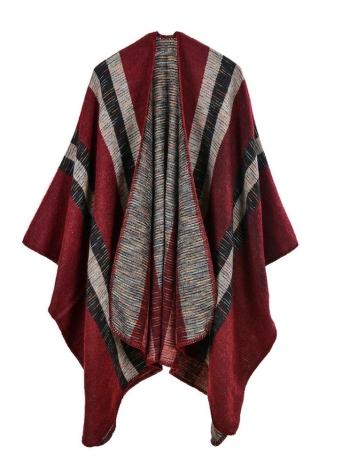 burgund Vintage Faux Kaschmir gestrickt Stripe Pattern Capes