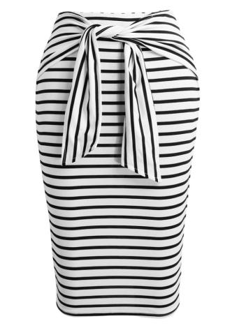 61f0c969f Nueva moda mujeres Midi falda rayas lazo del uno mismo cremallera cierre  cintura alta Fit Bodycon Vintage lápiz falda negro