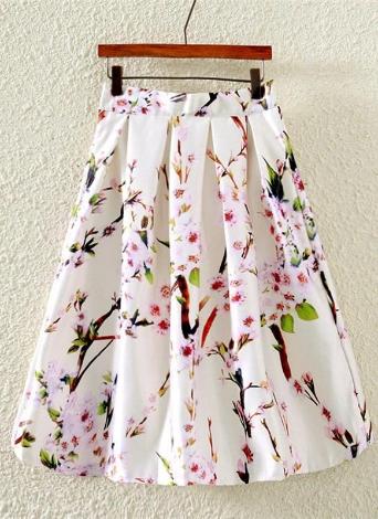 Nueva moda mujer falda mariposa estampado Floral A línea cremallera falda elegante verde/negro/blanco