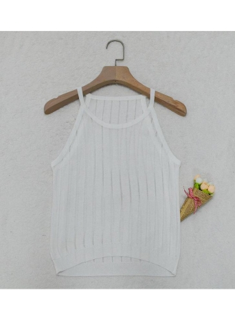 Femmes Slim Knitted Camisole Top Hollow Out Tank Sans manches Basic Solid Stretchy Vest Noir / Blanc