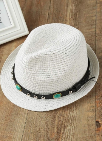 Panama Style Unisex Rivet Short Rolled Brim Straw Hat