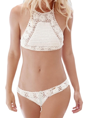 Crochet Cross Backless High Neck Crop Top Bikini Set