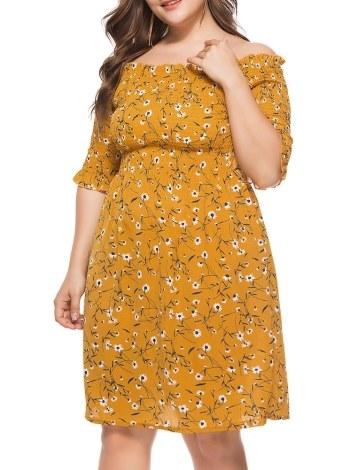 Mulheres Plus Size Vestido Slash Neck Floral Imprimir Casual Maxi Loose Dress