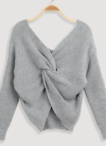 Mulheres Loose Tricotar Pullovers V Neck Back Bow mangas compridas Dropped Shoulder Cross Casual Knit Jumper Top