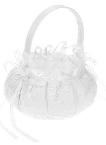 Cérémonie de Mariage Satin Flower Girl panier avec brodé fleurs /& strass