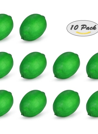 Realistic Fake Green Lemon Artificial Lifelike Fruit House Kitchen Decorations Photography Props--Pack of 10