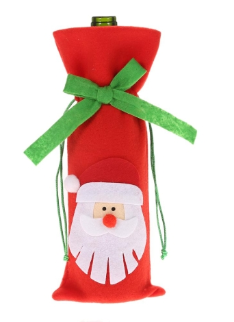 Festnight 1PC Red Wine Bottle Cover Bag Christmas Dinner Table Decoration Home Party Decor Santa Claus