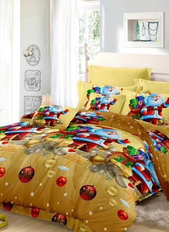 Set di biancheria da letto di Natale Santa Set Poliestere 3D copertina coperta + 2 pezzi di seta Pillowcases + Bed Set decorazioni camera da letto Natale