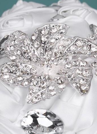 Свадебный букет Rhinestone ручной работы из нержавеющей стали 21см. Свадебный букет из атласа с искусственным жемчугом, украшенный для невесты. Свадебные принадлежности