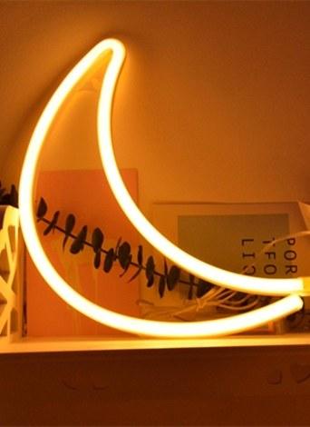 LED Néon Lampe USB De Charge Salon Chambre Bureau Décoratif Lumière Chaude Blanc Lune
