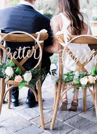 Calligrafia di legno appeso insegne sedia Banner Set per decorazioni di nozze rustico Decorazioni per feste di fidanzamento Style 1 Better & Together
