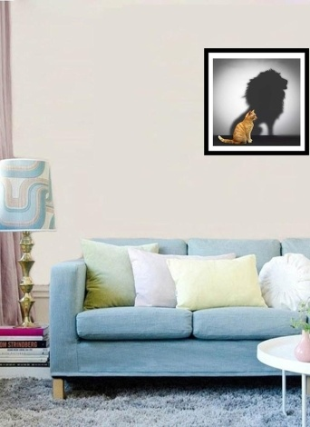 5D DIY Diamond Painting Kit Embroidery Cross Stitch Rhinestone Decoration Canvas Wall Home Office Decor Drawing Gift  Style 1 Cat Enlarged Lion Shadow