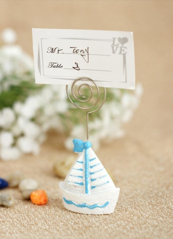 10pcs Lovely Mini Sailing Ship Boat Place Card Holders Table Mark Cards for Wedding Banquet Decoration