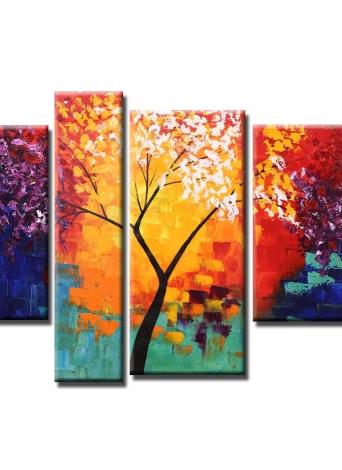 4pcs Unframed Handgemaltes Modernes Abstraktes Ölgemälde Set Leben Baum Leinwand  Farbe Wand