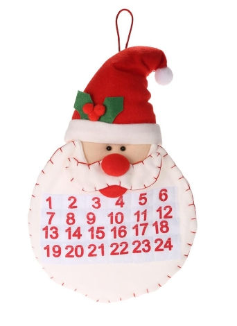 Festnight Lovely Bearded Christmas Santa Claus Advent Calendar Countdown Wall Hanging Ornament Festival Decoration