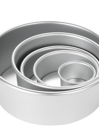 5pcs / set алюминиевый сплав круглый торт плесень шифон торт выпечки Пан пудинг Чизкейк пресс-набор с съемным снизу