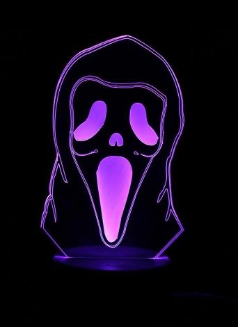 Illusione ottica 3D Lampada da tavolo colorata LED Lampada da tavolino alimentata USB Halloween decorazione di notte di notte - zucca