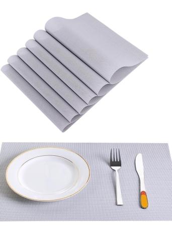 12 * 18 polegadas PVC resistente ao calor estofado de tecido resistente a manchas Anti-derrapante lavável Mesa de jantar Mats Placemats - Conjunto de 4 Red White