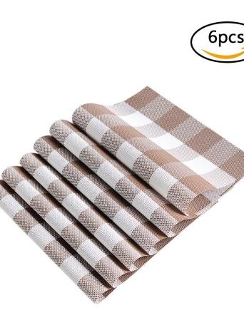 12 * 18 pulgadas de PVC resistente al calor Plaid Woven Placemat resistente a las manchas antideslizante lavable mesa de comedor Mats Placemats - Juego de 4 Negro