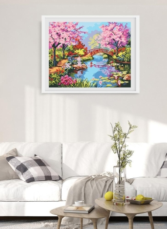 Rahmenlose DIY Digitale Ölgemälde 16 * 20 '' Frühling Landschaft Handbemalte Baumwolle Leinwand Malen Nach Anzahl Kit Home Office Wandkunst Gemälde Decor